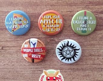 Supernatural inspired buttons - pinback or magnets ||| sam dean winchester castiel spn jensen ackles jared padalecki misha collins