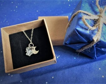 Moon and Star Sterling Silver 925 Necklace