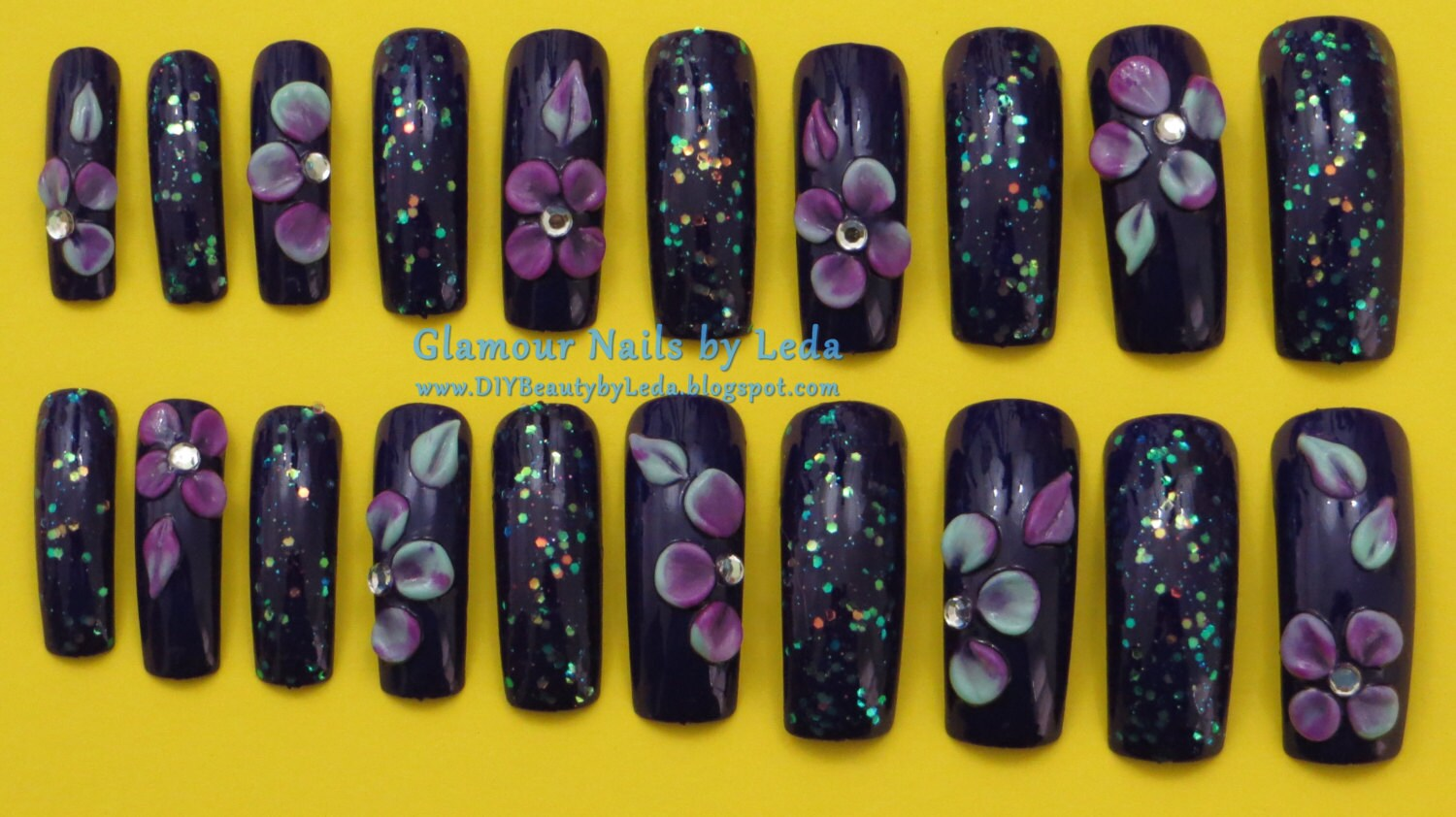 20 Full Well Extra Long Square Nails Sweet Plum 3D nail art acrylic ...
