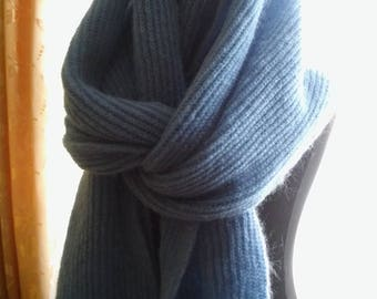 light blue warm and fluffy mohair scarf .