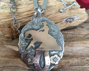 Reiner Slide Plate Toggle Necklace with CZs and horseshoes/ Sterling Silver/ Artisan Handmade/Antique finish/ length- 17""