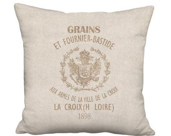 16x16 Inch - READY TO SHIP - Linen Cotton Beige Grain Sack Style Bastide Pillow with Insert - Linen Cotton French Farmhouse Cushion