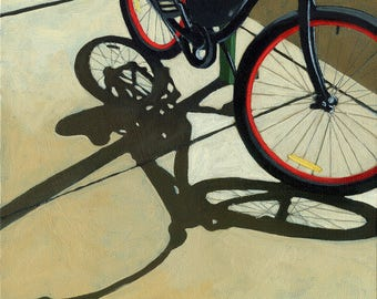 Bicycle art - RED WHEELS - Large archival print from original oil painting