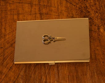 Scissors Business Credit Card Holder Hair Dressers Gift FREE ENGRAVING