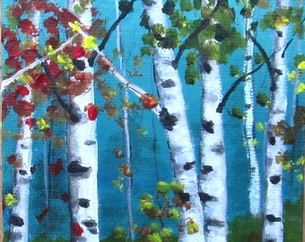 Tree painting**Aspen Birch trees**Summer landscape**Acrylic painting**Landscape**Original