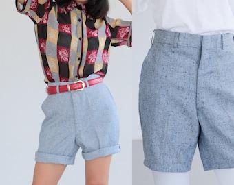"High waist shorts, Blue Grey shorts, Elegant Shorts, Suit Pants, Vintage summer Shorts Pants, Boyfriend pants Medium Large waist 30"""