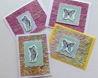 Set Of 4 Butterfly Thank You Note Cards, Butterflies Cards, Handcrafted Thank You Notes, Creative Cards, Gifts For Her, Thank You Notes