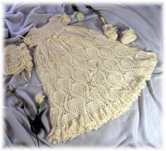Crochet Pattern for Baby Christening Gown, Bonnet and Booties -33