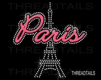 Rhinestone Glitter Shirt | Paris Eiffel Tower |  Sparkle Tee | Bling Ladies Gift Idea | Vacation clothing, tops, t-shirts.