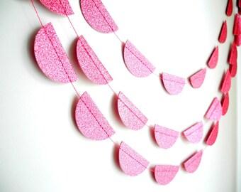 Pink Glitter Scalloped Garland, summer pink fuchsia wedding decoration, Pink Glitter party garland,Pink baby shower decor