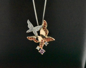 925 Sterling Silver 14k Rose Gold Friendship Pave Lab Pink Sapphire & Red Ruby Simulated Diamond Charm Animal Modern Style Pendant Necklace