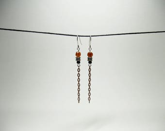 Silver and copper earrings with Brown, black and silver beads