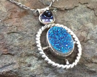 Druzy Quartz & Iolite Silver Necklace
