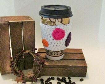 Coffee Cozy, Crochet Cup Sleeve, Travel Cup Cozie, Rainbow Cup Wrap, Tea Cozy, Eco Friendly Cup Protector, Disposable Cup Cozy, Cotton Cozy
