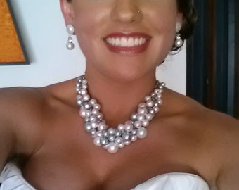 Chunky pearl necklace in white/pink/silver grey and clear crystals -wedding jewelry-statement necklace