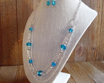 Aqua blue necklace set, Aqua & silver necklace set, Blue multi strand necklace set,