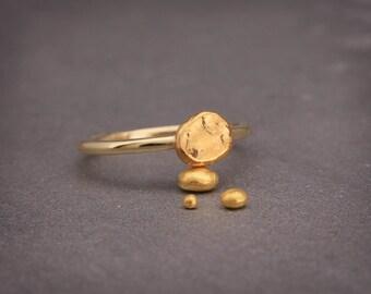 Organic 24k gold nugget ring   Handmade 24k solid gold organic and natural nugget ring