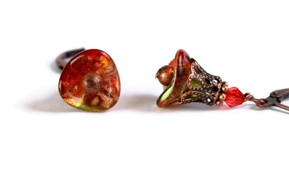 Sale Clearance 20% OFF - Peach pear red green bell flower earrings READY to ship (284)