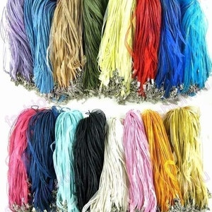 one SALE wholesale 100pcs assorted(more than 30 colors,you pick the colors and quantities) organza ribbon necklace cords/lobster clasps