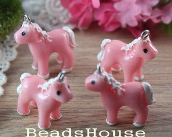6pcs -20 x 25mm Plastic Horse Cabochon Pendant Charms-Pink
