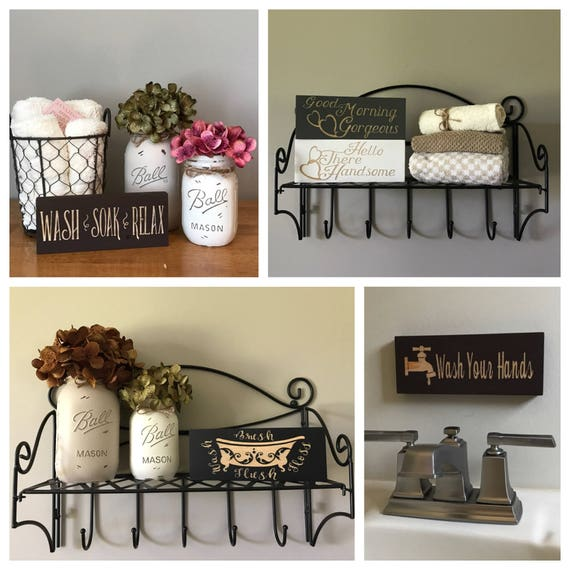 Rustic Country Home Decor Bathroom Sign Small Signs Mini