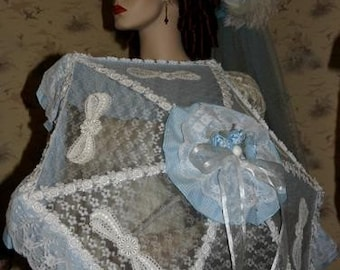 Victorian Parasol Edwardian Parasol Alice in Wonderland Parasol Fantasy Parasol Blue and White Parasol Southern Belle Parasol - Country Girl