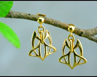 Gold Art nouveau earring, celtic gold earring, medieval earring, celtic jewelry, symbolic women jewelry, handmade jewelry, celtic wedding
