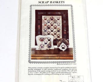 Scrap Baskets by Susan Bartlett, The Quilted Cottage unused pattern, applique quilting