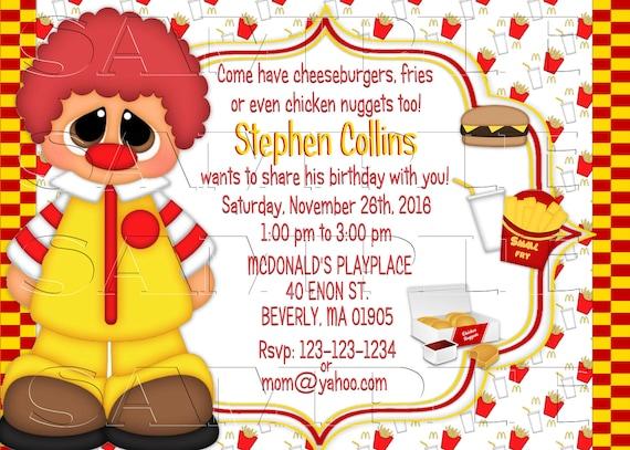 Mcdonalds 2 Happy Meals Invitationpersonalized Invite