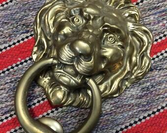 "Vintage massive solid brass lion door knocker 8 3/4"" tall"
