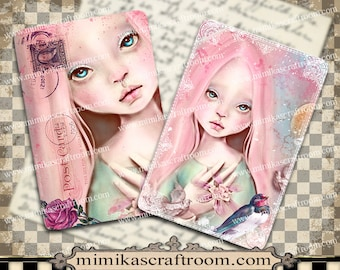 PINK DOLL - Digital Collage Sheet on Printable Paper cards 4x6 inches Background - Instant Download