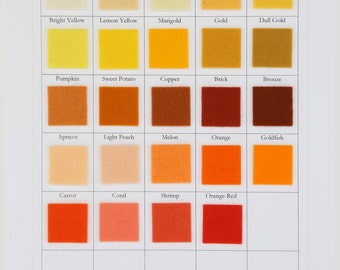 Yellow, Orange, Coral, Brick, Ecru, CHOOSE THREE SHEETS,  8 x 12 inch, 100 Percent Wool, 1mm Thick, Wool Felt Sheets, Natural Undyed Felt