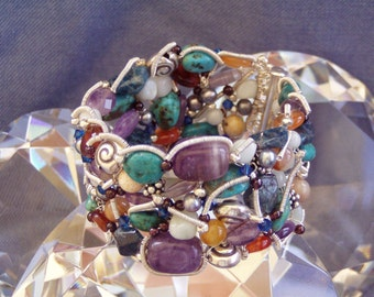 Australian Tropical Dreaming Gemstone Fine Silver Jewellery Cuff