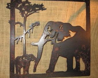 Elephants-Metal Art
