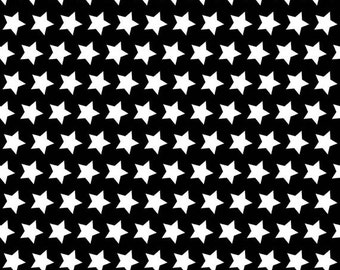 Half Yard Riley Blake 2015 Basics - Stars in Black - Cotton Quilt Fabric - by The RBD Designers for Riley Blake - C315-110 (W3248)