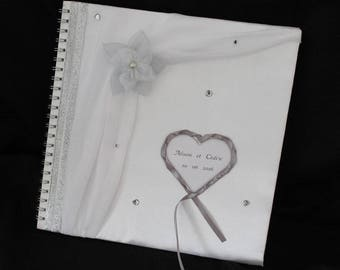 Large format pattern rhinestone personalized wedding guest book