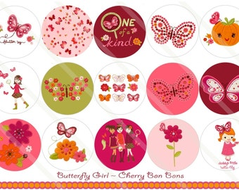 Butterfly Girl M2MG 1 Inch Circles Collage Sheet for Bottle Caps, Hair Bows, Scrapbooks, Crafts, Jewelry & More