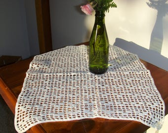"Crochet doily or table topper. 14 x 17"" Vintage loose eyelet."