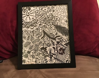 One-of-a-kind Feather and Mini Graphics Framed Doodle