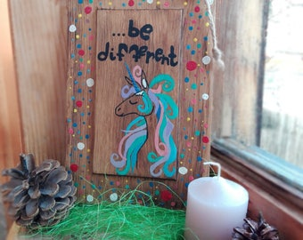 Unicorn Sign Unicorn Wood Wall Art Painted Unicorn Log Cabin Art Reclaimed Wood Birthday Gift Home Decor Painted Sign Wood Sign Handmade