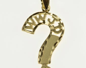 14K WWJD What Would Jesus Do Question Mark Pendant Yellow Gold