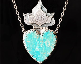 Turquoise Sacred Heart Pendant, Flaming Heart, Milagros, Vintage Lace, Handmade, Sterling Silver, stamped