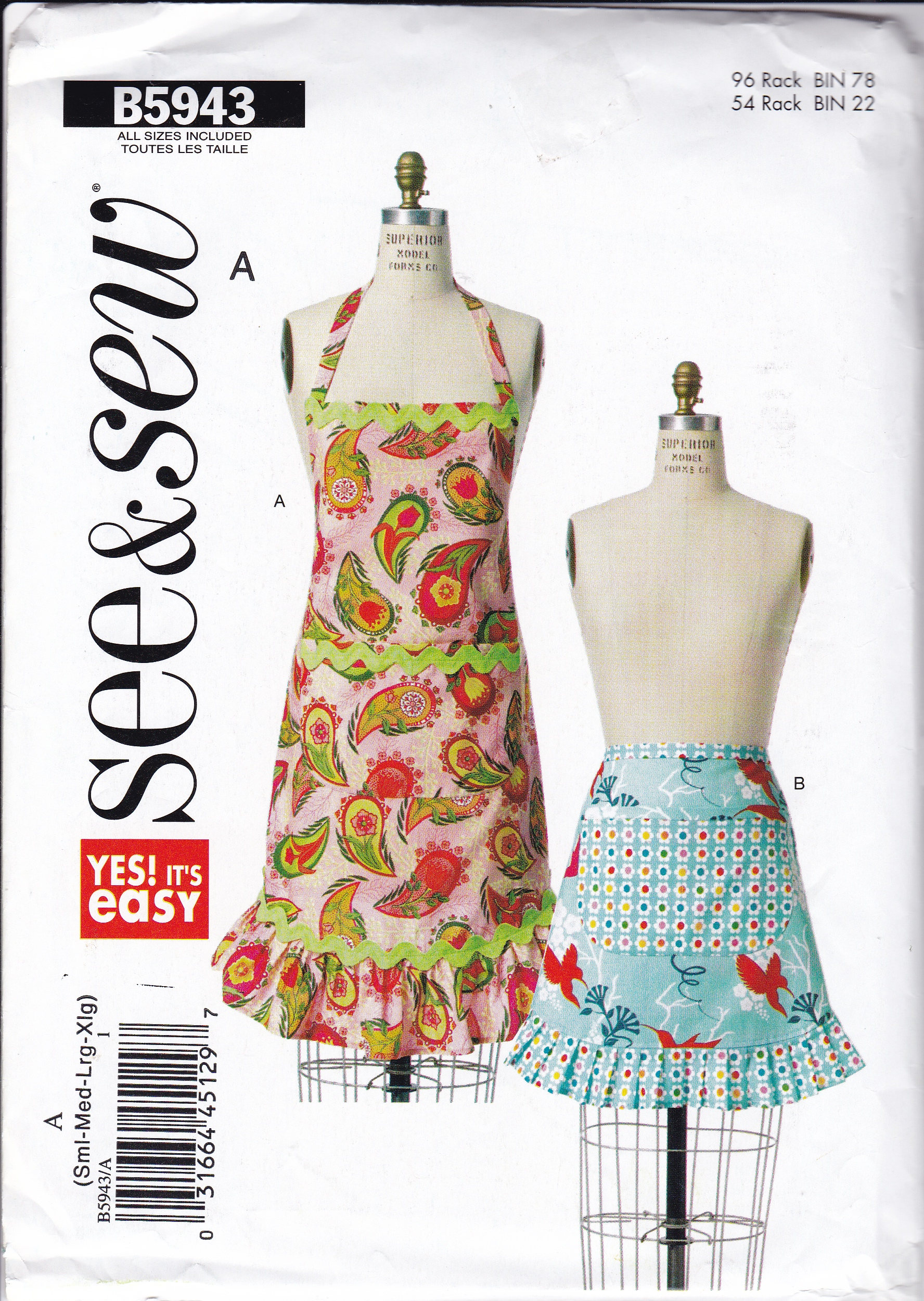 FREE US SHIP Butterick 5943 Out of Print Apron Sewing Pattern Miss ...