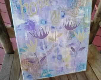 Hope Mixed Media Original Art Canvas 11x14 // Ready to Ship, Gift Idea, Room Decor, Home, Wall Art