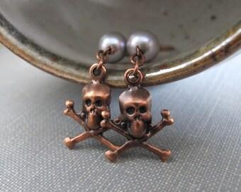 Skull Earrings, Copper Earrings, Copper Skulls, Silver Grey Pearls, Skull and Crossbones, Oxidized Copper, Copper Jewelry, Copper Plated