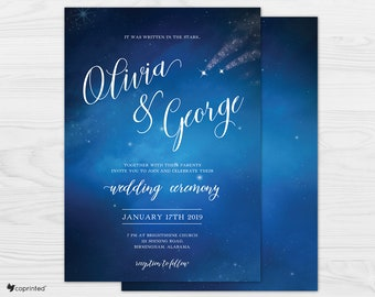 Star Wedding Invitations, Starry Night Wedding Invitations, Night Sky Wedding Invitations, Under the Stars Wedding Invitations Set