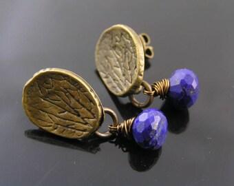 Lapis Lazuli Earrings, Wire Wrapped Stud Earrings, Lapis Lazuli Jewelry, Bronze Studs, Sodalite Earrings, Something Blue, E1984
