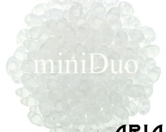 CRYSTAL MATTE: MiniDuo Two-Hole Czech Glass Seed Beads, 2x4mm (10 grams)