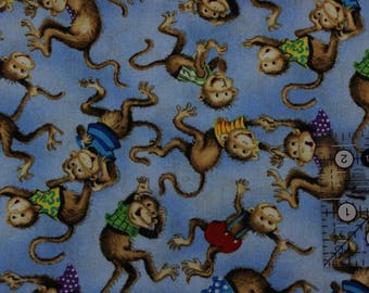 """Fuzzy Tails ABC & 123 Lisa McCue Monkeys on Blue 100% cotton fabric 42"""" - 44"""" wide SSI"""
