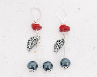 Cherry gemstone Hematite earrings gray and Red coral
